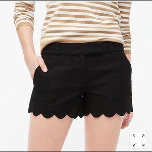 J. Crew: black scallop linen shorts